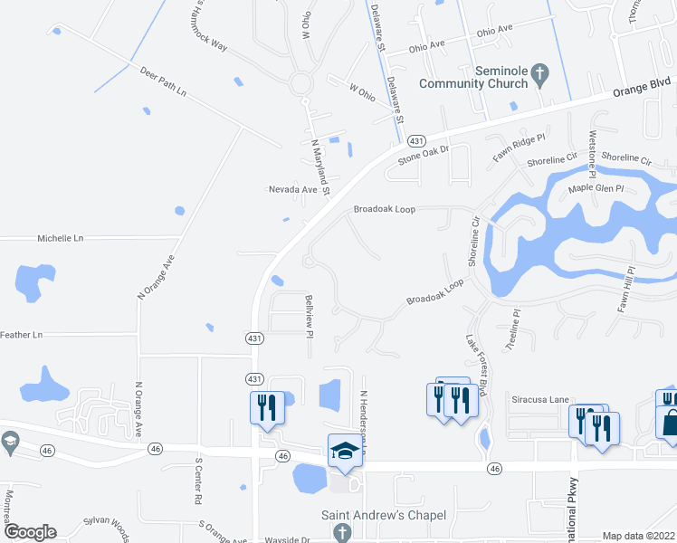map of restaurants, bars, coffee shops, grocery stores, and more near 630 Broadoak Loop in Sanford