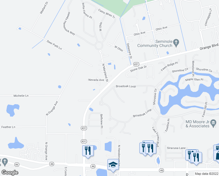 map of restaurants, bars, coffee shops, grocery stores, and more near 685 Broadoak Loop in Sanford