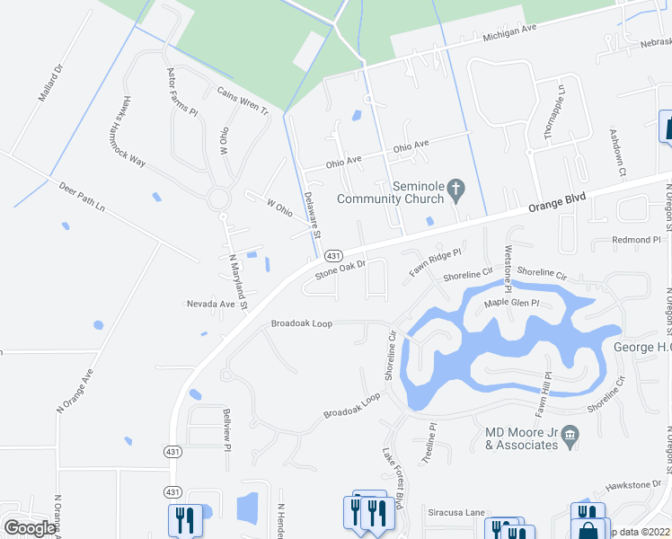 map of restaurants, bars, coffee shops, grocery stores, and more near Stone Oak Drive in Sanford