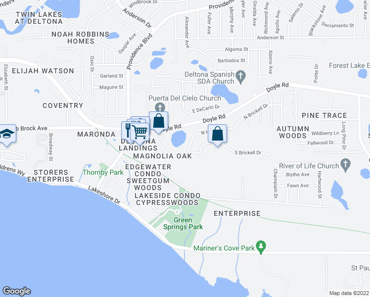 map of restaurants, bars, coffee shops, grocery stores, and more near 1022 West Harbor Drive in Deltona