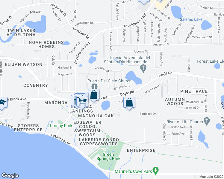 map of restaurants, bars, coffee shops, grocery stores, and more near 1019 East Decarlo Drive in Deltona