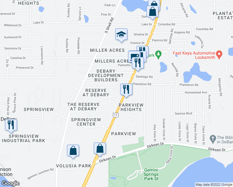 map of restaurants, bars, coffee shops, grocery stores, and more near 20 Pleasant Hill Drive in DeBary