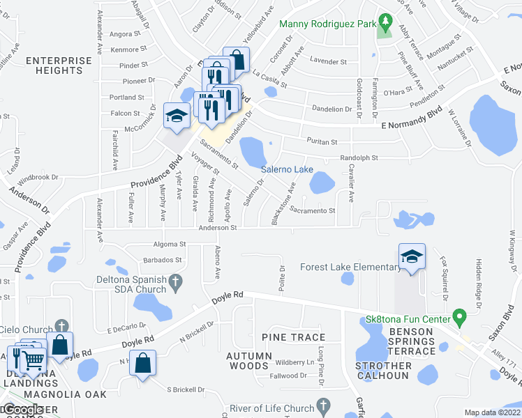 map of restaurants, bars, coffee shops, grocery stores, and more near Keystone Terrace in Deltona