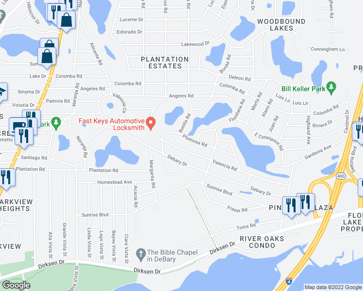 map of restaurants, bars, coffee shops, grocery stores, and more near 214 Valencia Road in DeBary