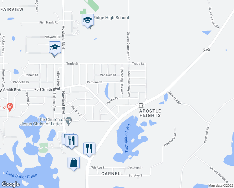 map of restaurants, bars, coffee shops, grocery stores, and more near 601 Rutherford Avenue in Deltona