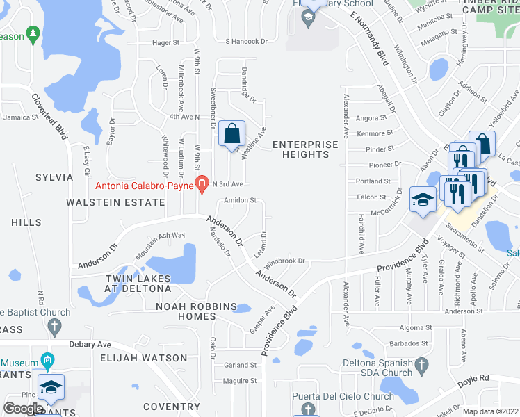 map of restaurants, bars, coffee shops, grocery stores, and more near 768 Leland Drive in Deltona