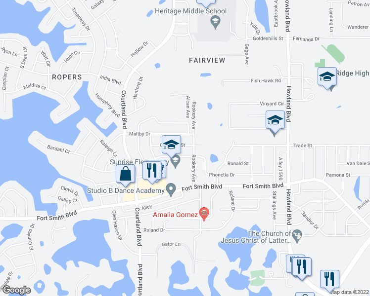 map of restaurants, bars, coffee shops, grocery stores, and more near 3173 Overdale Street in Deltona