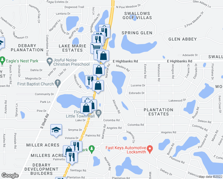 map of restaurants, bars, coffee shops, grocery stores, and more near 35 Alicante Road in DeBary