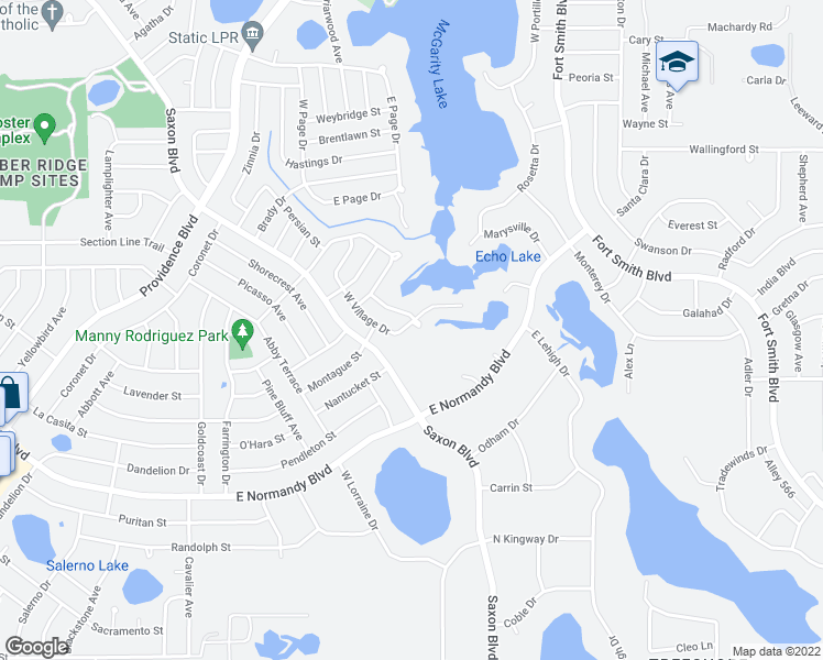 map of restaurants, bars, coffee shops, grocery stores, and more near 1721 South Village Drive in Deltona