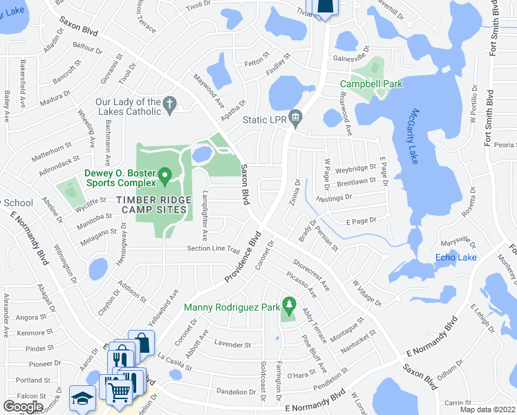 map of restaurants, bars, coffee shops, grocery stores, and more near 1040 Wakefield Circle in Deltona