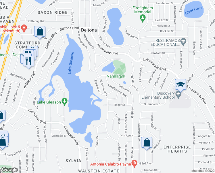 map of restaurants, bars, coffee shops, grocery stores, and more near 1104 Cobblestone Avenue in Deltona