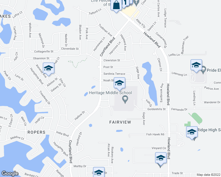map of restaurants, bars, coffee shops, grocery stores, and more near 1069 Parnell Court in Deltona