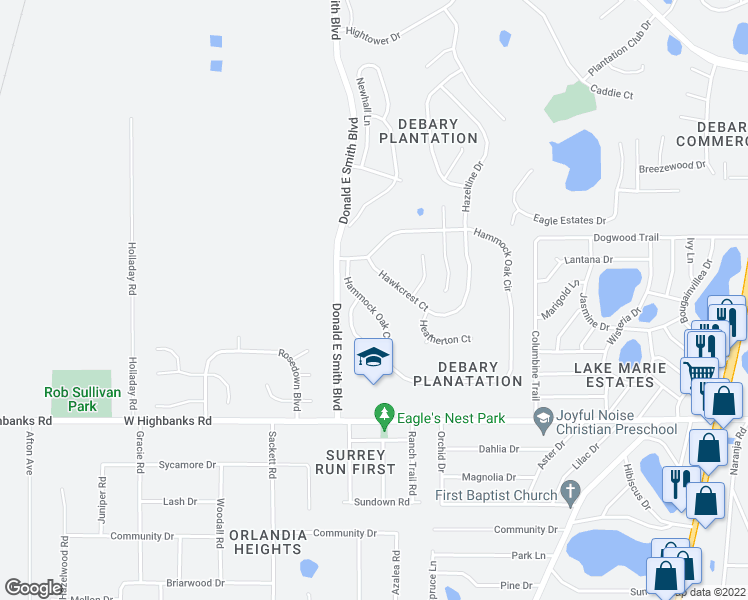 map of restaurants, bars, coffee shops, grocery stores, and more near 372 Hammock Oak Circle in DeBary