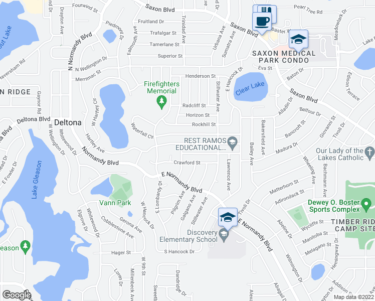 map of restaurants, bars, coffee shops, grocery stores, and more near 854 Roberts Boulevard in Deltona