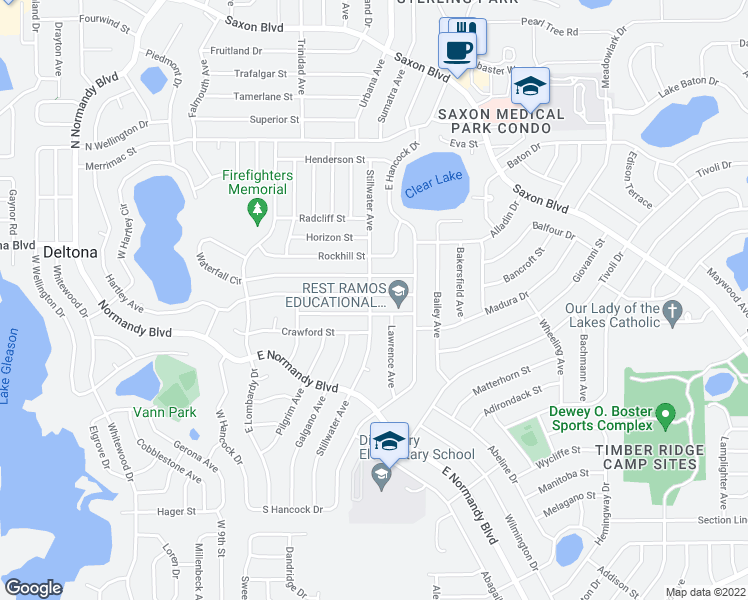 map of restaurants, bars, coffee shops, grocery stores, and more near 943 Halstead Street in Deltona