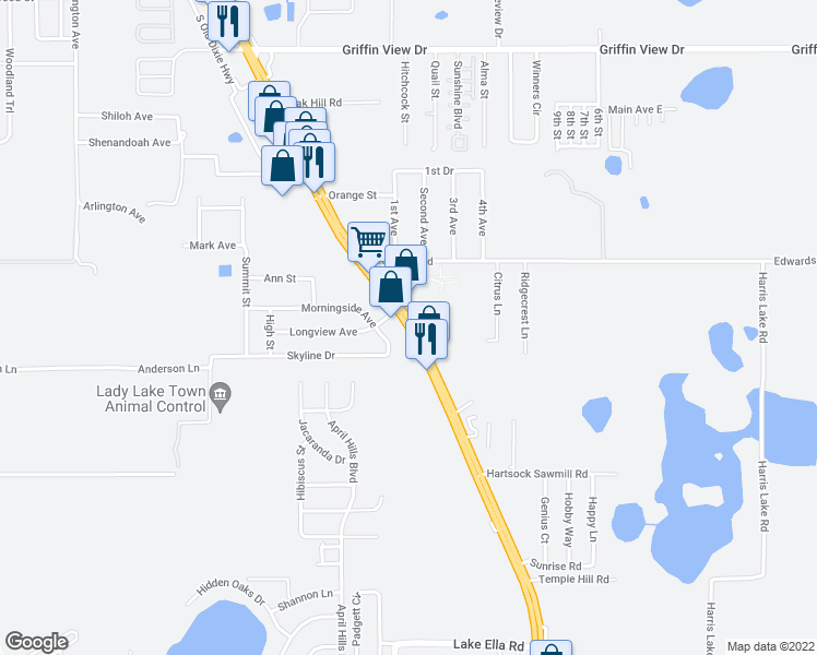 map of restaurants, bars, coffee shops, grocery stores, and more near 824 S U.S. Highway 441 in Lady Lake