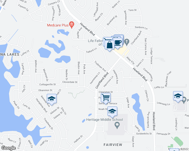 map of restaurants, bars, coffee shops, grocery stores, and more near 3152 Byington Terrace in Deltona