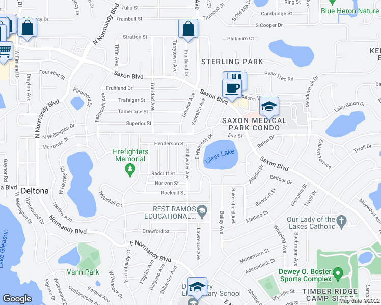 map of restaurants, bars, coffee shops, grocery stores, and more near 1441 Stillwater Avenue in Deltona