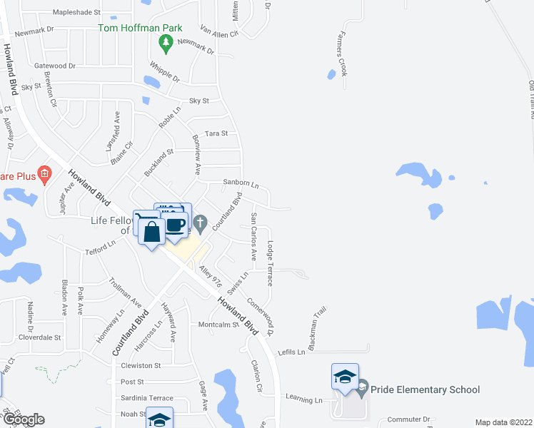 map of restaurants, bars, coffee shops, grocery stores, and more near 1466 San Carlos Avenue in Deltona