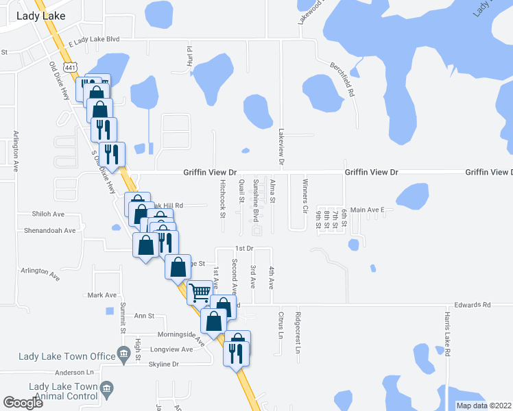 map of restaurants, bars, coffee shops, grocery stores, and more near 401 Sunshine Boulevard in Lady Lake
