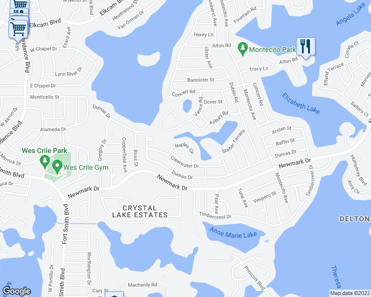 map of restaurants, bars, coffee shops, grocery stores, and more near 1567 Naples Circle in Deltona