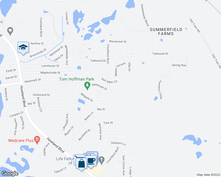 map of restaurants, bars, coffee shops, grocery stores, and more near 1735 Courtland Boulevard in Deltona