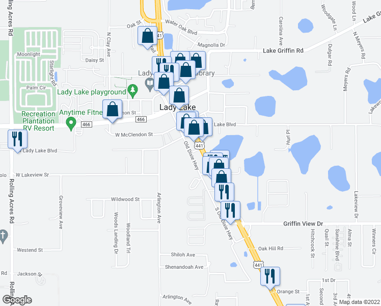 map of restaurants, bars, coffee shops, grocery stores, and more near Old Dixie Highway in Lady Lake