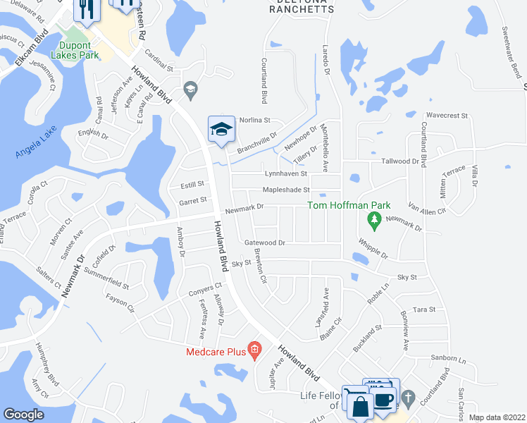 map of restaurants, bars, coffee shops, grocery stores, and more near 3050 Newmark Drive in Deltona