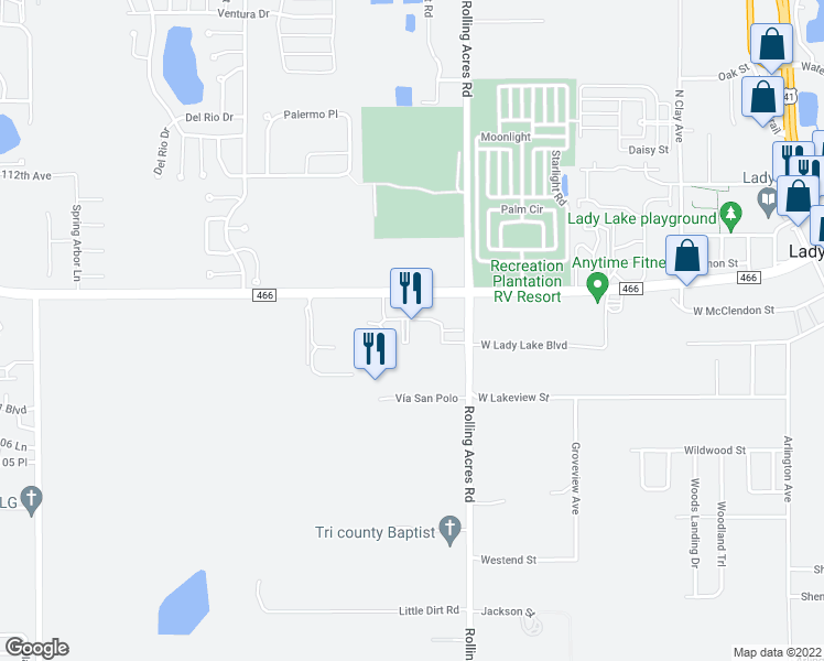 map of restaurants, bars, coffee shops, grocery stores, and more near 824 County Road 466 in Lady Lake
