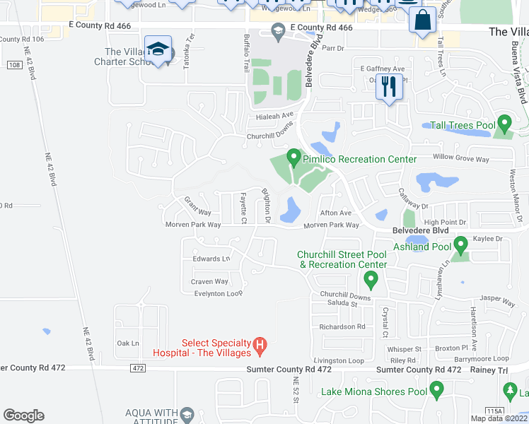 map of restaurants, bars, coffee shops, grocery stores, and more near 654 Brighton Drive in The Villages