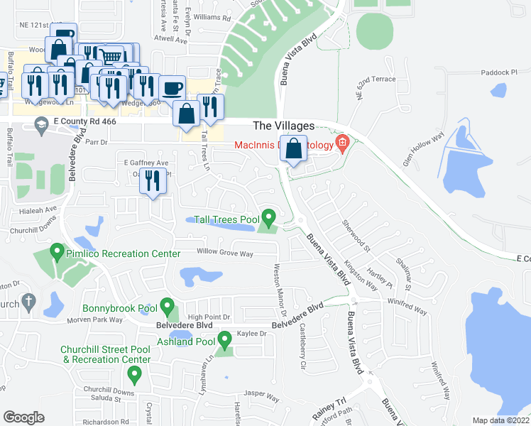 map of restaurants, bars, coffee shops, grocery stores, and more near 2077 Tall Trees Lane in The Villages
