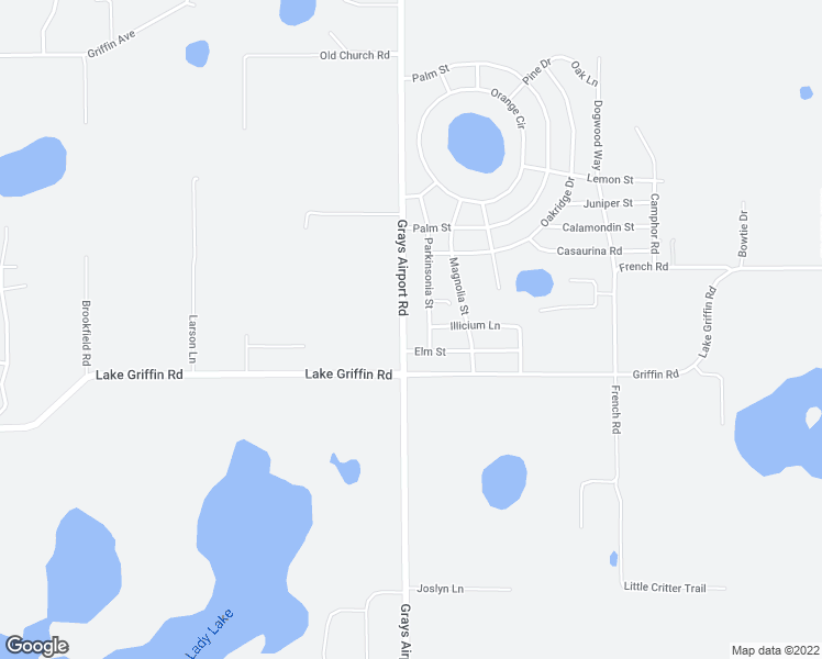 map of restaurants, bars, coffee shops, grocery stores, and more near 39828 Grays Airport Road in Lady Lake