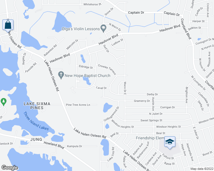 map of restaurants, bars, coffee shops, grocery stores, and more near 2520 Laval Drive in Deltona