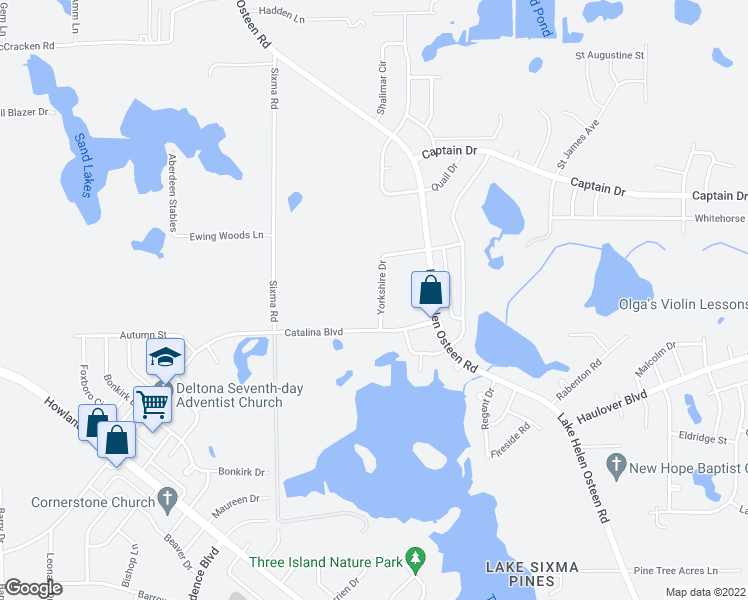 map of restaurants, bars, coffee shops, grocery stores, and more near 3036 Yorkshire Drive in Deltona