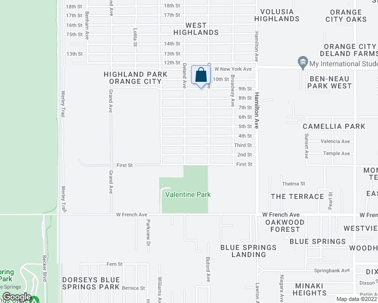 map of restaurants, bars, coffee shops, grocery stores, and more near 652 Deland Avenue in Orange City