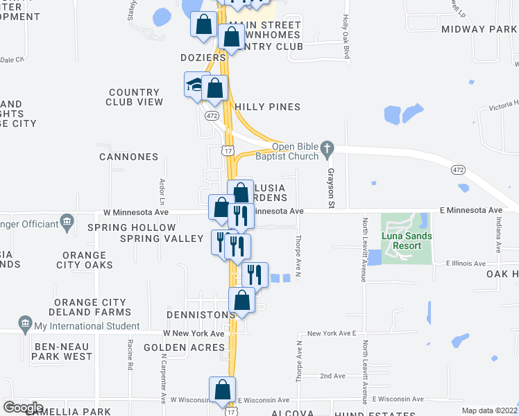 map of restaurants, bars, coffee shops, grocery stores, and more near 247 East Minnesota Avenue in Orange City