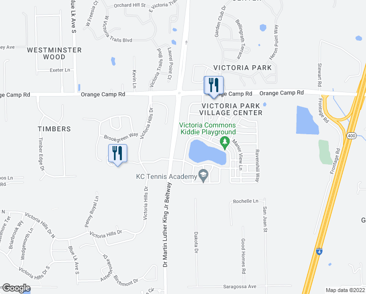 map of restaurants, bars, coffee shops, grocery stores, and more near 318 West Lake Victoria Circle in DeLand