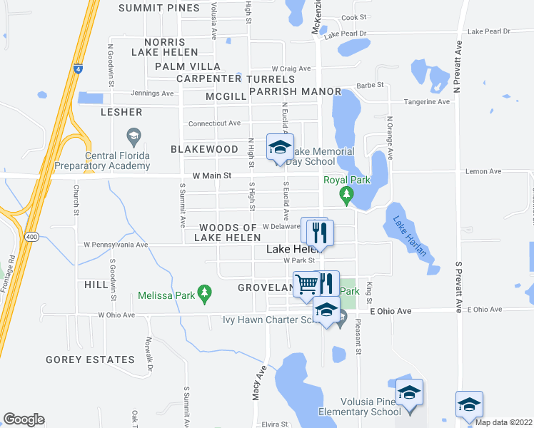 map of restaurants, bars, coffee shops, grocery stores, and more near 275 West Michigan Avenue in Lake Helen