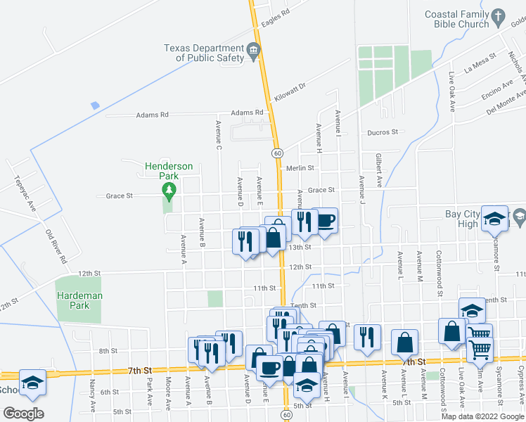 map of restaurants, bars, coffee shops, grocery stores, and more near 1301 Avenue G in Bay City