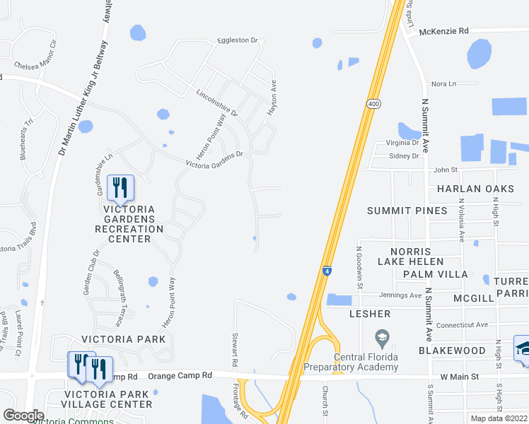 map of restaurants, bars, coffee shops, grocery stores, and more near 405 Tisbury Court in DeLand
