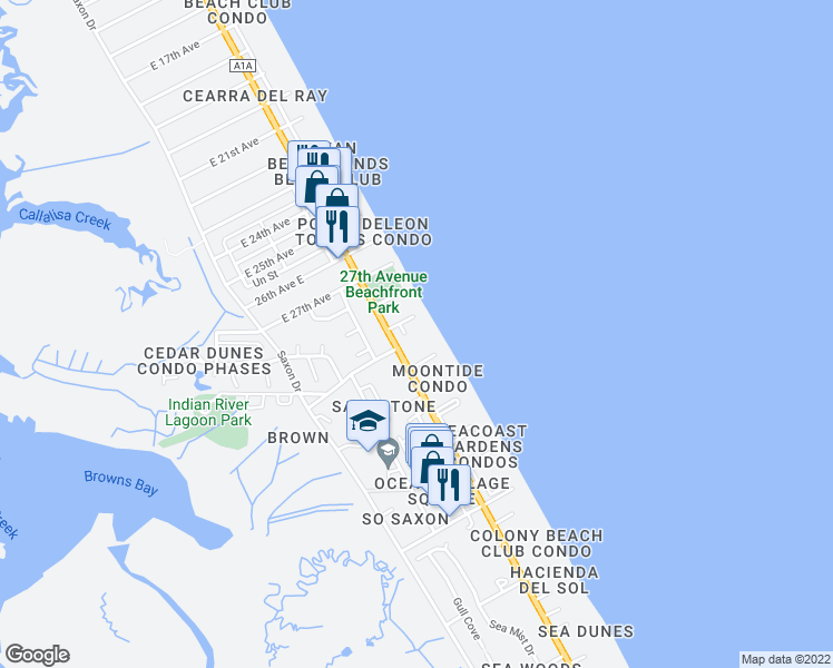map of restaurants, bars, coffee shops, grocery stores, and more near 4091 Hill Street in New Smyrna Beach
