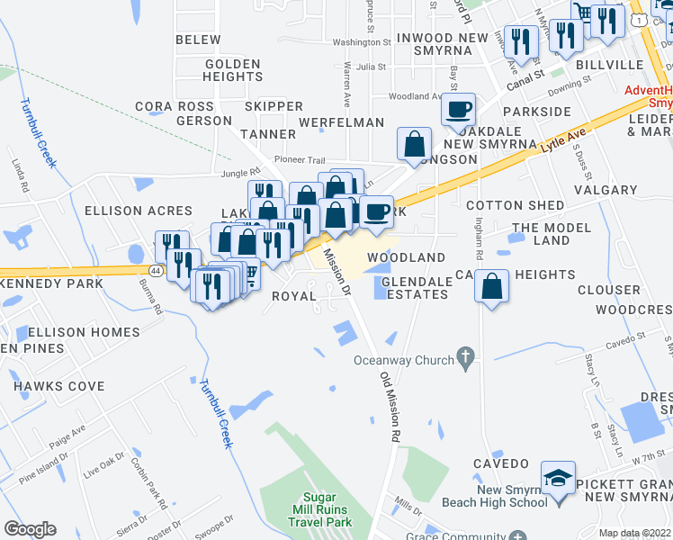 map of restaurants, bars, coffee shops, grocery stores, and more near 1800 Vics Way in New Smyrna Beach