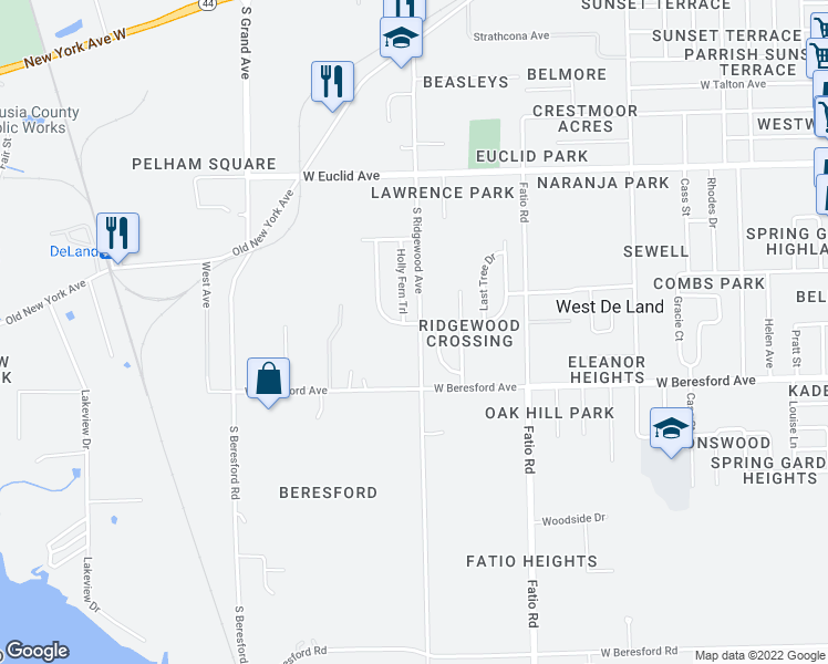 map of restaurants, bars, coffee shops, grocery stores, and more near 1700 Lady Fern Trail in DeLand