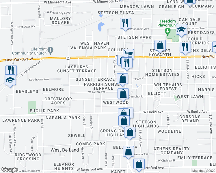 map of restaurants, bars, coffee shops, grocery stores, and more near 1136 West Voorhis Avenue in DeLand