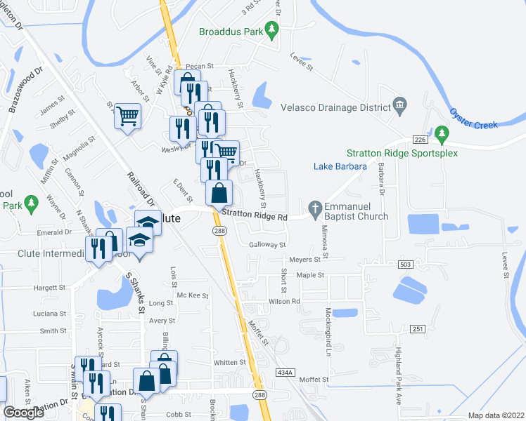 map of restaurants, bars, coffee shops, grocery stores, and more near Stratton Ridge Road in Clute