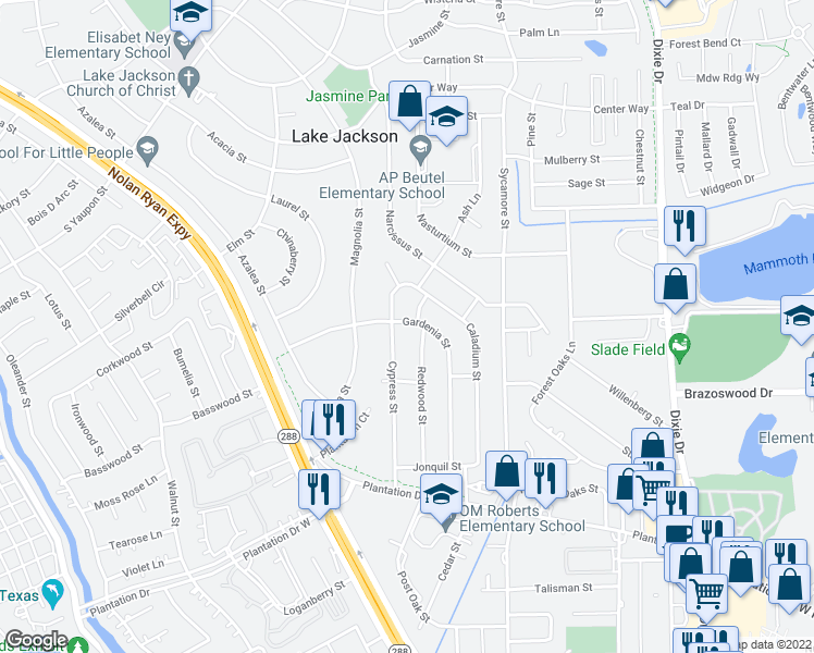 map of restaurants, bars, coffee shops, grocery stores, and more near 304 Gardenia Street in Lake Jackson