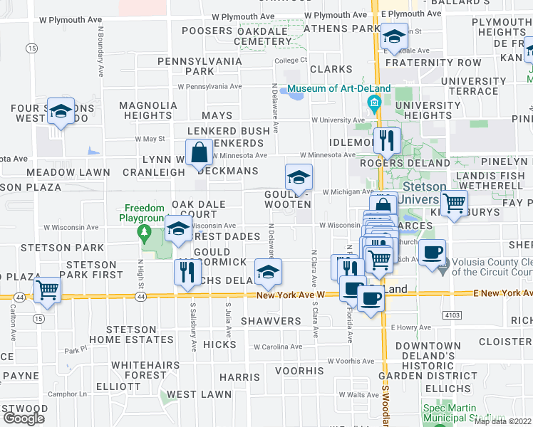 map of restaurants, bars, coffee shops, grocery stores, and more near 326 North Delaware Avenue in DeLand