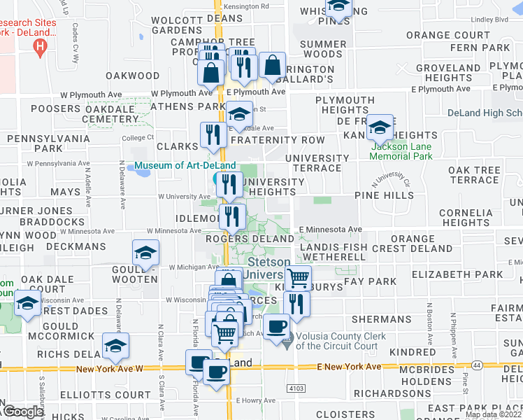 map of restaurants, bars, coffee shops, grocery stores, and more near 698 North Bert Fish Drive in DeLand