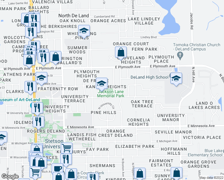 map of restaurants, bars, coffee shops, grocery stores, and more near 605 East Pennsylvania Avenue in DeLand
