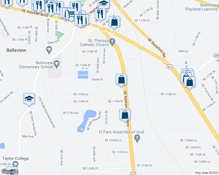 map of restaurants, bars, coffee shops, grocery stores, and more near Southeast 118th Place in Belleview